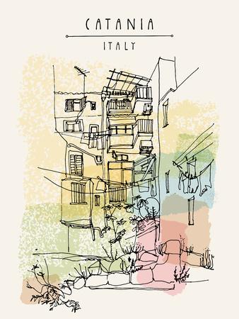 reise retro: Catania, Sizilien, Italien. Illustration von einem Hinterhof mit Fenstern, Balkonen, Felsen, Gras. Retro-Stil skizzenhaft Freihandzeichnen. Reise-Postkarte, Plakat oder Buchillustration in Vektor
