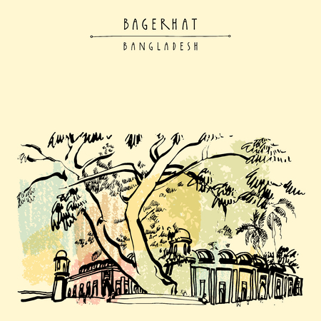 heritage: Mosque City of Bagerhat. Bangladesh, Asia. A UNESCO World Heritage Site. Vintage hand drawn postcard in vector