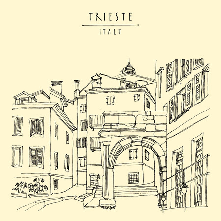 mediterranean homes: Arch of Riccardo in Trieste, Italy, Europe. Mediterranean house in old town. Artistic illustration. Hand drawn travel sketch. Book illustration, calendar page idea, postcard, poster template in vector