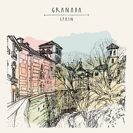 Old town in Granada, Andalucia, Spain, Europe. Hand drawn vintage book illustration, touristic postcard or postcard. Vector