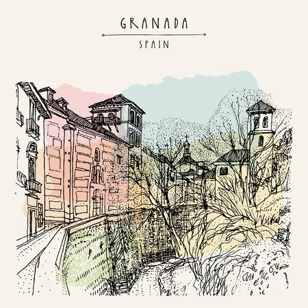 Stare miasto w Granadzie, Andaluzja, Hiszpania, Europa. Ręcznie rysowane rocznika ilustracji książki, pocztówki turystycznej lub pocztówki. Wektor