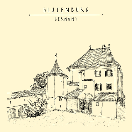 touristic: Blutenburg castle near Munich, Bavaria, Germany, Europe. Travel sketch. Book illustration. Vintage hand drawn touristic poster or postcard template in vector