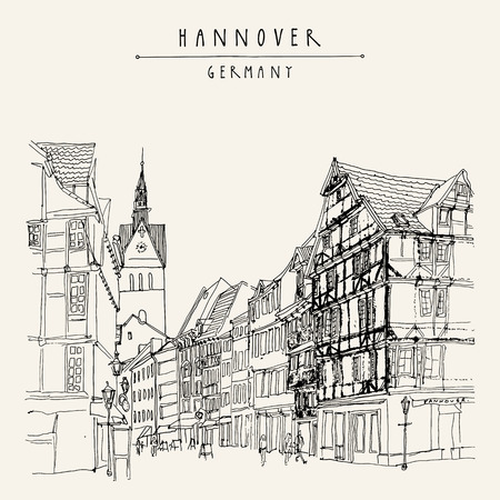 Hanover, Germany, Europe. Pedestrian street with historic traditional German timbered houses and church belfry. Hand drawn touristic postcard, poster template or book illustration in vector