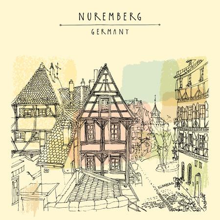Norymberga, Niemcy, Europa. Stare miasto widok z zabytkowych tradycyjnych niemieckich drewnianych domów. ilustracji książki. Artystyczna ręcznie rysowane turystycznej pocztówki, szablon plakat w wektorze