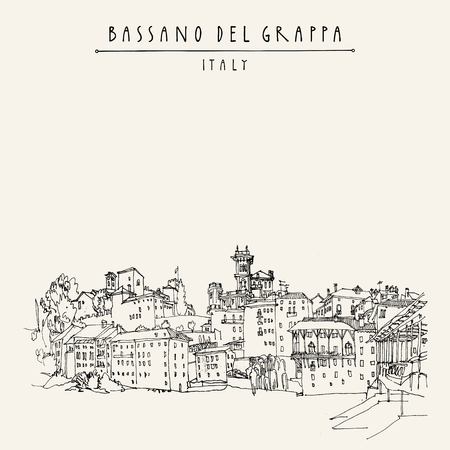 touristic: Bassano del Grappa, Italy. Panoramic view, waterfront. Italian historic buildings in old town. Retro style touristic postcard, poster template or book illustration in vector