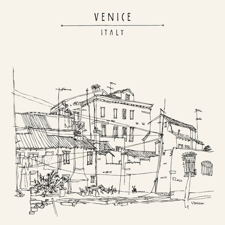 venice italy: Canal bank in Venice, Italy. Vintage engraved illustration, hand drawn on paper. Travel sketch with Venice Italy lettering. Retro style touristic postcard template in vector Illustration