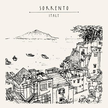 ソレント、イタリア、ヨーロッパ。ビューの上。ベスビオ火山、木、海。スケッチ ライン アート。芸術的なイラストを描きます。手レタリング。観光ポストカード ・ ポスター テンプレート、ベクトルの挿絵本 写真素材 - 58516801