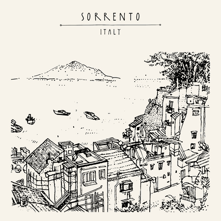 Sorrento, Italy, Europe. Above view. Vesuvio volcano, trees, sea. Sketchy line art. Artistic illustration drawing. Hand lettering. Touristic postcard poster template, book illustration in vector Ilustração