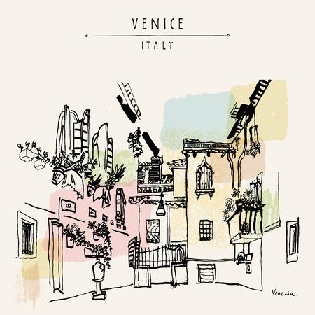 mediterranean homes: Venice, Italy, Europe. Travel sketch.  Artistic vintage hand drawn postcard or poster. Book illustration in vector Illustration