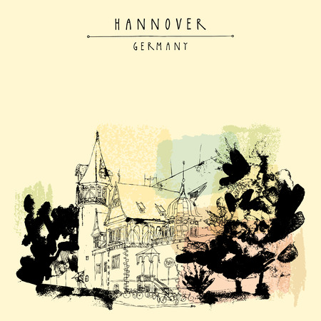 Hanover, Germany, Europe. A beautiful old mansion and trees. Hand drawn touristic postcard, poster template or book illustration in vector