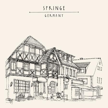 building sketch: Old town Springe, Germany, Europe. Historical building line art. Freehand drawing. Travel sketch, hand lettering. Vintage postcard, poster template