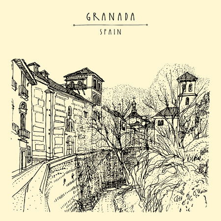 alhambra: Old town in Granada, Andalucia, Spain, Europe. Hand drawn vintage book illustration, touristic postcard or postcard. Vector