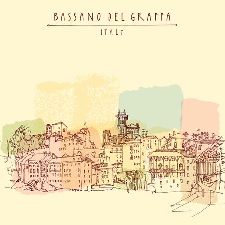 Bassano del Grappa, Italien. Panorama-Blick, Wasser. Italienisch historischen Gebäuden in der Altstadt. Retro-Stil touristische Postkarte, Poster-Vorlage oder Buchillustration in Vektor Vektorgrafik