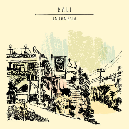 A mosque in North Bali, Indonesia, Southeast Asia. Bali, Indonesia. Handdrawn vintage touristic postcard, poster or book illustration in vector Illustration
