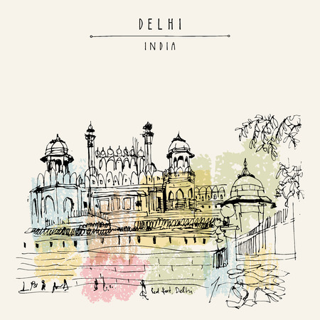 View of Red Fort in Delhi, India. Vintage hand drawn postcard template. Vector illustration Vettoriali