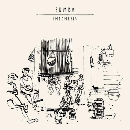 thatched: People sitting around the fireplace inside a tradional bamboo house in Sumba, Indonesia, Asia. Travel sketch. Hand-drawn vintage book illustration, greeting card, postcard or poster template in vector Illustration