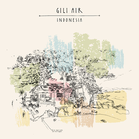 Tropical paradise in Gili Air island, West Nusa Tenggara province, Indonesia, Asia. Travel sketch. Hand-drawn vintage book illustration, greeting card, postcard or poster template in vector Illustration