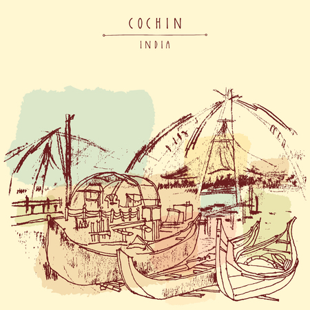 kerala: Wooden boats and Chinese traditional fishing nets in Cochin, Kerala, India. Vintage hand drawn postcard