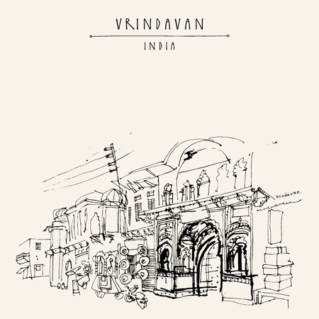 radha: A street in the holy city of Vrindavan, India. Sacred Krishna place. Vintage hand drawn postcard template. Vector illustration Illustration