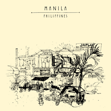 manila: A street in the old part of Manila, Philippines, Asia. Hand drawn vintage postcard or poster template in vector