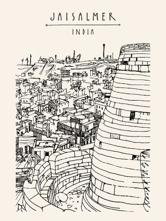 haveli: View of Jaisalmer fort and the city, Rajasthan, India. Vintage touristic postcard, poster, book illustration or calendar template with sketchy hand drawing and hand lettered title