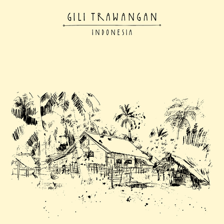 Tropical paradise in Gili Trawangan island, West Nusa Tenggara province, Indonesia, Asia. Travel sketch. Hand-drawn vintage book illustration, greeting card, postcard or poster template in vector Illustration