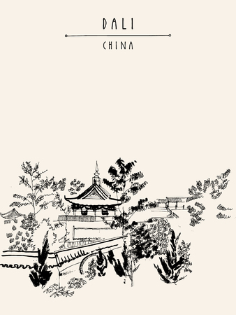 viewpoints: Chinese temple in Dali, Yunnan province, China. Handdrawn vintage touristic postcard or poster in vector