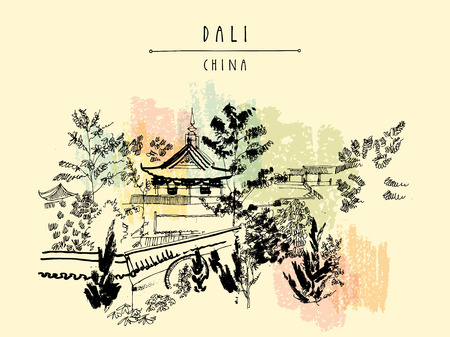 dali: Chinese temple in Dali, Yunnan province, China. Handdrawn vintage touristic postcard or poster in vector