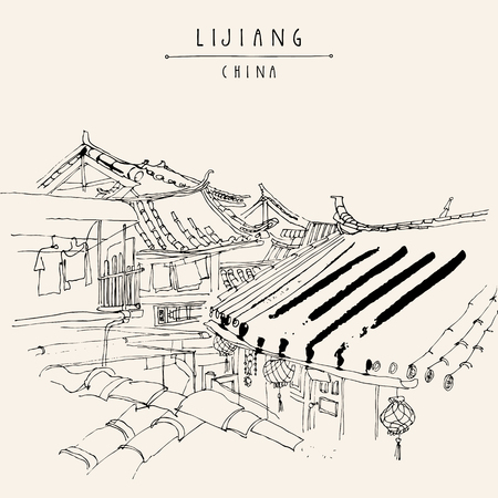 Traditional Chinese houses in Lijiang, Yunnan, China. Artistic hand drawing. Travel sketch. Vintage style travel poster, banner, postcard or calendar page template