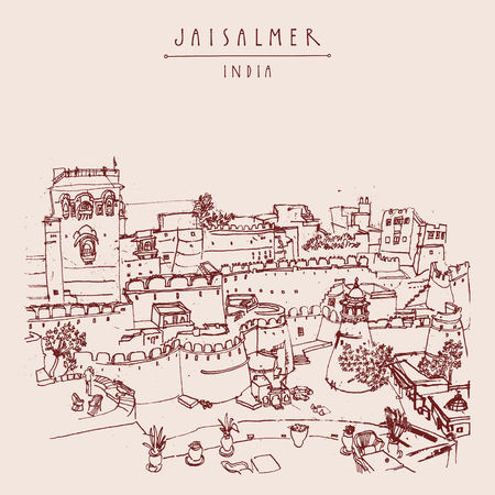 india city: View of Jaisalmer fort and the city, Rajasthan, India. Colored vintage touristic postcard, poster,  book illustration or calendar template with sketchy hand drawing and hand lettered title Illustration