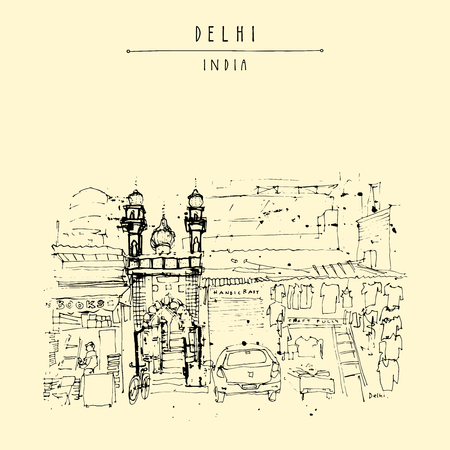 main entrance: Mosque entrance. Old historic building in Main Bazar street, Paharganj, Delhi, India. Hand drawn cityscape sketch. Travel art. Vintage artistic postcard template. Vector illustration