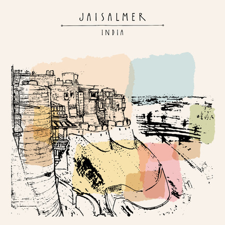 Stunning view of Jaisalmer fort and the city, Rajasthan, India. Hand drawn cityscape sketch. Travel art. Vintage artistic postcard template. Vector illustration