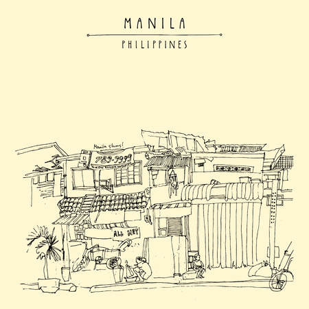 urban decay: Slums in the old part of Manila, Philippines, Asia. Hand drawn vintage postcard or poster template in vector Illustration