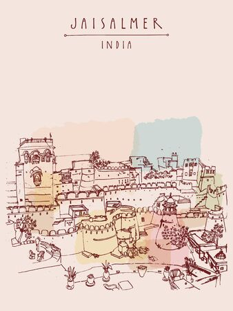 fortification: View of Jaisalmer fort and the city, Rajasthan, India. Vintage touristic postcard, poster, book illustration or calendar template with sketchy hand drawing and hand lettered title