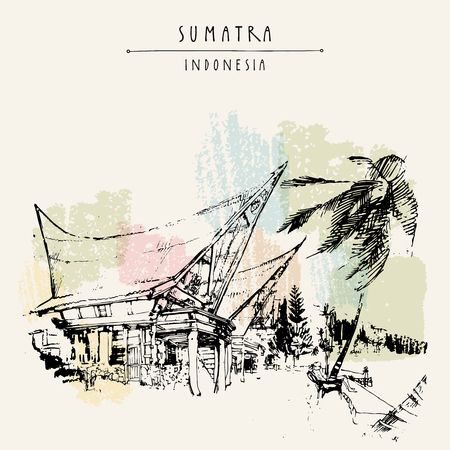 sumatra: Houses on lake Toba, Sumatra, Indonesia, Asia. Unique traditional Batak tribal architechture. Travel sketch. Hand-drawn vintage book illustration, greeting card, postcard or poster template in vector Illustration