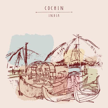Holzboote und der traditionellen chinesischen Fischernetze in Cochin, Kerala, Indien. Vintage Hand gezeichnete Postkarte Vektorgrafik