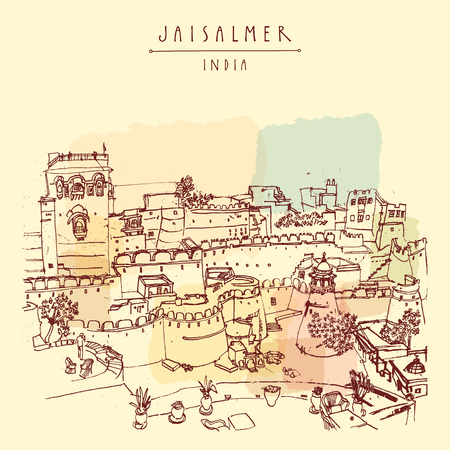 haveli: View of Jaisalmer fort and the city, Rajasthan, India. Colored vintage touristic postcard, poster,  book illustration or calendar template with sketchy hand drawing and hand lettered title Illustration