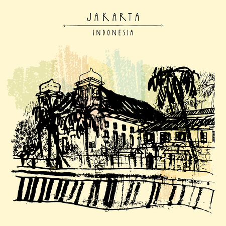 colonial house: Old church on the river bank in Kota, Jakarta, Indonesia, Asia. Colonial architecture. Travel sketch. Hand-drawn vintage book illustration, greeting card, postcard or poster template in vector