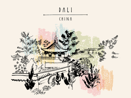Chinese temple in Dali, Yunnan province, China. Handdrawn vintage touristic postcard or poster in vector