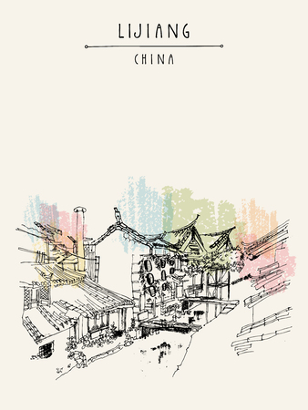 poster art: Traditional Chinese houses on the river in Lijiang, Yunnan, China. Artistic hand drawing. Travel sketch. Vintage poster, banner, postcard or calendar page template Illustration