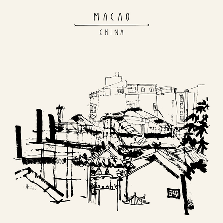 Upper view of Macao from the ruins of St. Pauls Cathedral. Macau, China, Asia. Traditional Chinese houses. Vintage hand drawn postcard in vector