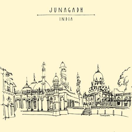 gujarat: A mosque in Junagadh, Gujarat, India. Hand drawn cityscape sketch. Travel art. Vintage artistic postcard template. Vector illustration Illustration