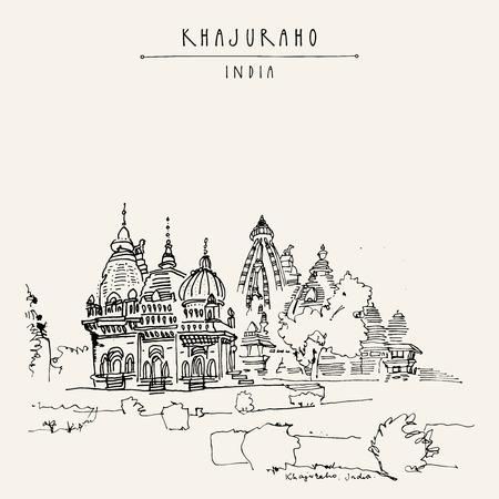 kamasutra: Ancient Hindu temples in Khajuraho, Madhya Pradesh, India. Vintage hand drawn postcard or poster template. Vector illustration Illustration