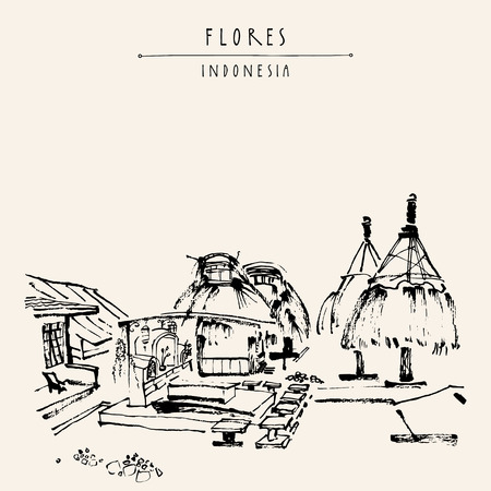 an island tradition: Tribal village near Bajawa, Flores, East Nusa Tenggara province, Indonesia. Graves and sacred houses. Travel sketch. Hand drawn vintage book illustration, postcard or poster template in vector