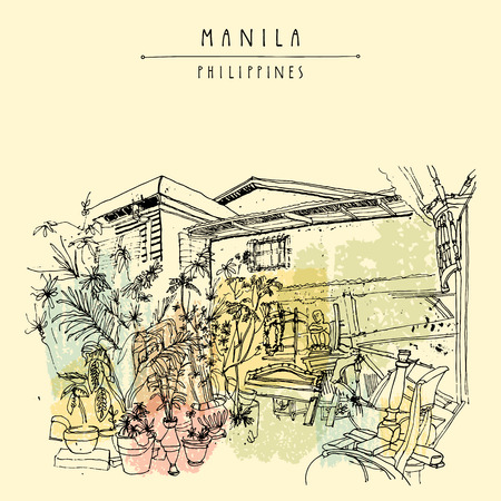 manila: An aged guesthouse with a vintage art shop in the old part of Manila, Philippines, Asia. Hand drawn vintage postcard or poster template in vector Illustration