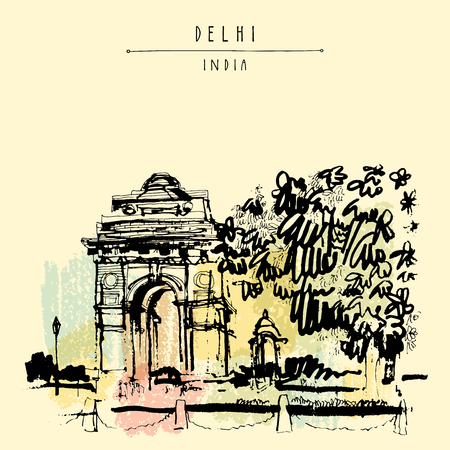 india gate: View of India Gate in Delhi, India. Vintage hand drawn postcard template. Vector illustration