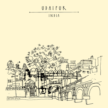 View of Udaipur, Rajasthan, India. Hand drawn cityscape sketch. Travel art. Vintage artistic postcard template. Vector illustration
