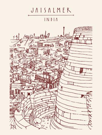 haveli: View of Jaisalmer, Rajasthan, India. Hand drawn illustration. Travel sketch on paper. Poster, postcard template with Jaisalmer India hand lettering Illustration