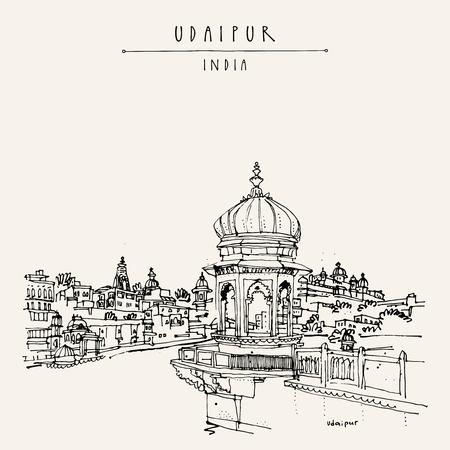 Ansicht von Udaipur, Rajasthan, Indien. Hindu-Tempel, Ghat. Hand gezeichnete Skizze Stadtbild. Reise-Kunst. Vintage-künstlerische Postkarte Vorlage. Vektor-Illustration Standard-Bild - 58716178