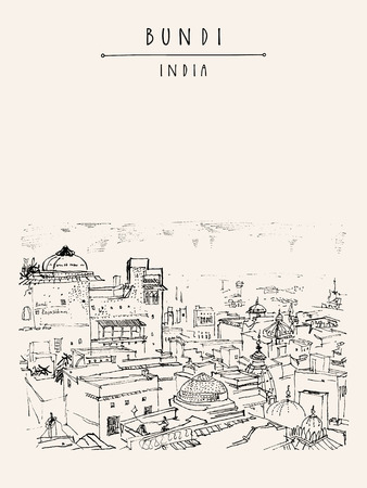 Bundi, Rajasthan, India. Above view of town. Black and white artistic drawing. Vertical Indian travel postcard or poster with hand lettering